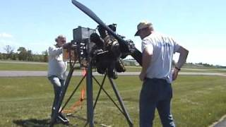 2009 05 10 1918 WWI GNOME ROTARY AEROPLANE ENGINE STARTED