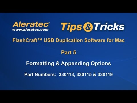 How To Format and Append with USB Duplication Software for Mac - Aleratec Tips & Tricks Part 5