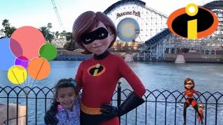 Pixar Fest talking with Mrs. Incredible about Pixar Fest and attractions. Incredibles 2. vacation