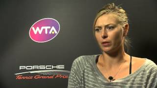 Interview Maria Sharapova (RUS) quarter finals - Porsche Tennis Grand Prix 2014