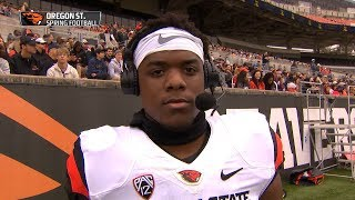 Oregon State running back Jermar Jefferson reflects on successful freshman season, areas of play...