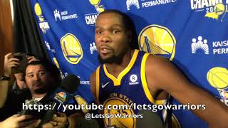 KEVIN DURANT, postgame Warriors-Lakers on Kobe jersey retirement night