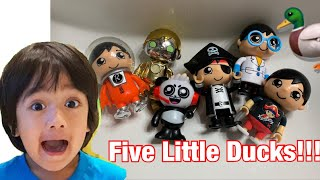5 LITTLE RYAN'S WORLD FIGURES DUCK SONG! NURSERY RHYME 5 LITTLE DUCKS! Kids Song | Super Simple Song