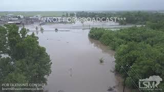05-21-19 El Reno, Oklahoma - Flooding Sixmile Creek Drone View