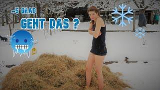 ⚠️Selbstversuch in Schnee und Eis- Übernachtung nur in Unterwäsche bei -5° im Heu 🥶 Vanessa Blank