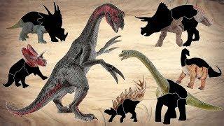 Dinosaur names for Kids! Wrong Heads Dinosaur! T-Rex, Therizinosaurus, Triceratops