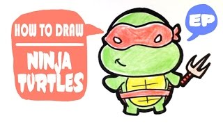 How to Draw Raphael from Ninja Turtles - Chibi - Easy Pictures to Draw