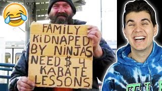 Funniest Homeless People Signs!