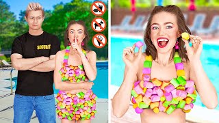 FUNNY WAYS TO SNEAK SNACKS INTO A POOL, PLANE, CONCERT and MOVIE    Cool Life Hacks by 123 GO! FOOD