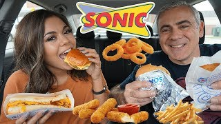 SONIC MUKBANG! (BURGERS, CHILI CHEESE DOG, ONION RINGS, MOZZ STICKS) YUMM! | Steph Pappas