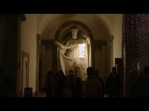 Booo bulbs on the Statue of Saint Ambrose