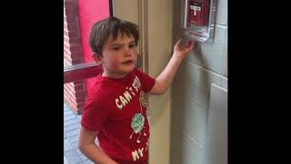 Tyler pulling fire alarms at school field house April 2018