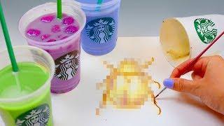 PAINTING WITH STARBUCKS RAINBOW DRINKS *pinkity drinkity*