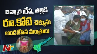 Ministers distribute compensation cheques for Vizag gas le..
