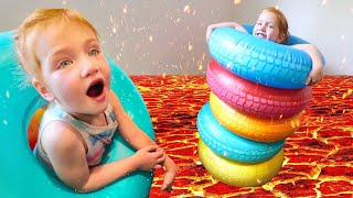 ADLEY vs DAD!! Ultimate Obstacle Course and Challenge Park! (don't touch the hot lava)