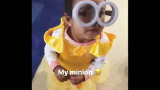 Ariah dresses as A Minion for Halloween. (She's the cutest Minion ever!)