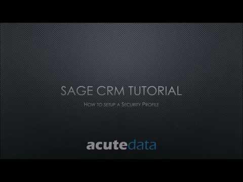 Sage CRM - How To Setup A Secuirty Profile