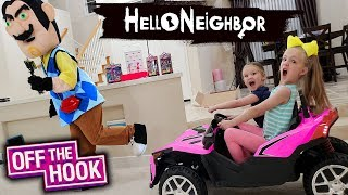 Pranking Hello Neighbor in Real Life!! Off the Hook Toy Scavenger Hunt!