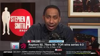 Stephen A. Smith reacts to Toronto Raptors defeat Philadelphia 76ers 92-90