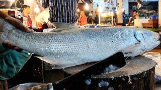 Amazing Fishing Cut   Big Rawas Fish Cutting Skills Live In Fish Market