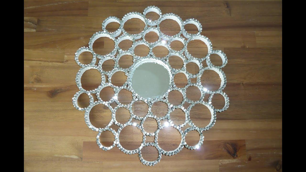 diy deko pailletten spiegel aus papprollen selbst machen deko kitchen youtube. Black Bedroom Furniture Sets. Home Design Ideas