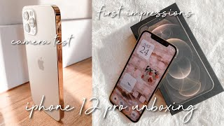 GOLD iPHONE 12 PRO UNBOXING *NEW* + FIRST IMPRESSIONS + iPHONE 12 PRO CAMERA REVIEW