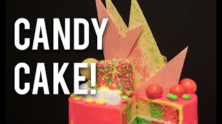 How To Make A CHECKERBOARD CANDY CAKE! Neon vanilla cakes with buttercream and hot pink ganache!