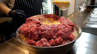 100% 쇠고기, 치즈 함박 스테이크 / 100% beef, cheese hamburger steak - korean street food