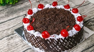 Black Forest Cake Without Oven | Birthday Cake Recipe | Chocolate Lace Cake