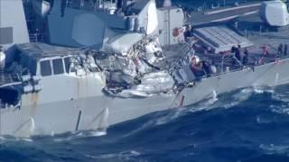 Cận cảnh tàu khu trục Mỹ bị tàu container của Philippines đâm thủng, 7 thủy thủ thiệt mạng