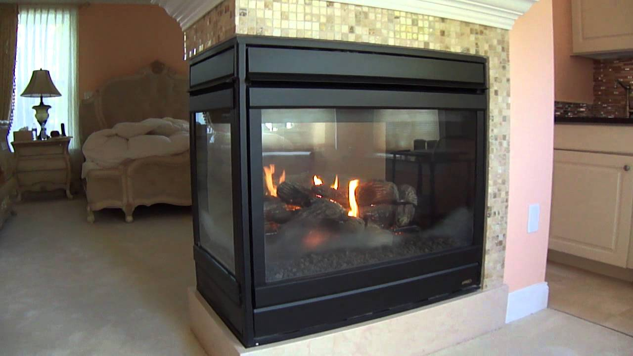Wood Gas Generator >> Lennox Hearth products three sided fireplace model EDVPF - YouTube