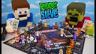 Five Nights at Freddy's Monopoly WAR! Puppet Steve vs Zombie Steve Unboxing Review