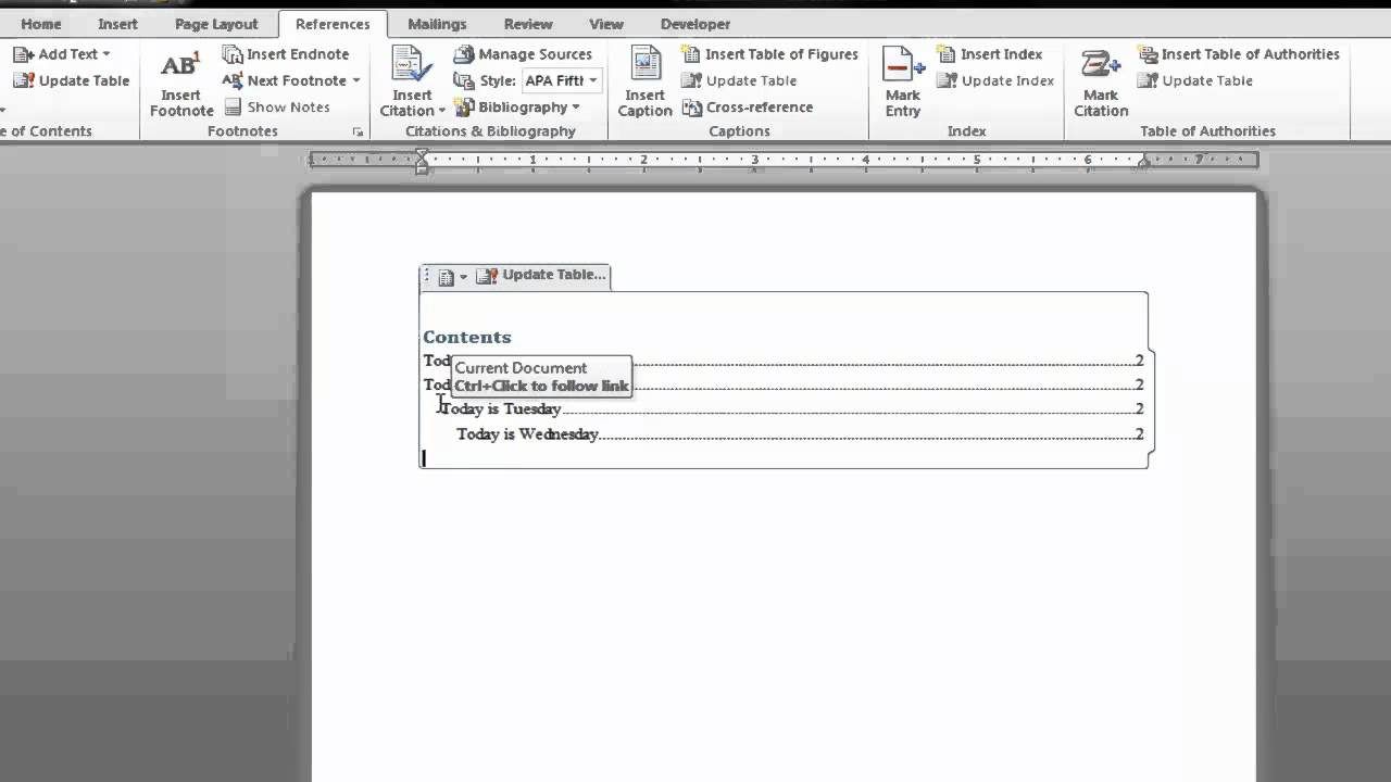 Create a table of contents in microsoft word 2010 youtube for Table of contents template word 2010