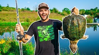 Giant SNAPPING TURTLE Catch Clean Cook!!! (BACKYARD POND)