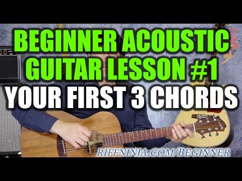 beginner acoustic guitar lesson 1 your first 3 chords youtube. Black Bedroom Furniture Sets. Home Design Ideas