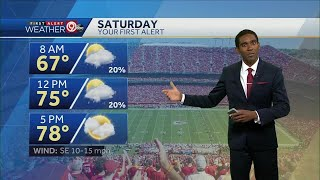 Increasing clouds, highs in upper 70s Saturday