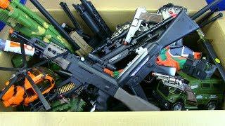 Box of Toys - Box Full of Guns Toys & Military equipment - Video for Kids