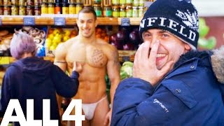 Naked & Invisible Personal Trainer Shocks Greengrocer Customers