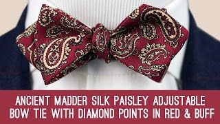 eb1d3d33d633 Ancient Madder Silk Paisley Adjustable Bow Tie with Diamond Points in Red &  Buff - Fort Belvedere