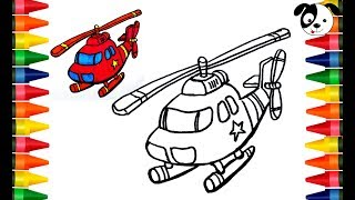 COLORING HELICOPTER FOR KIDS🚁Paint for Toddlers and Drawing for kids 🚁Funny coloring videos
