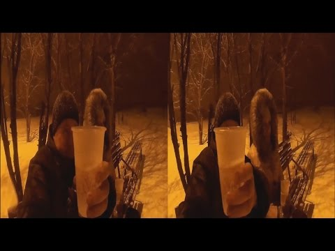 Champagne ! Snowfall ! WIFE ! 3D VIDEO
