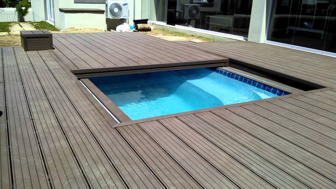 Decks4life Composite Deck With Motorized Pool Sliding