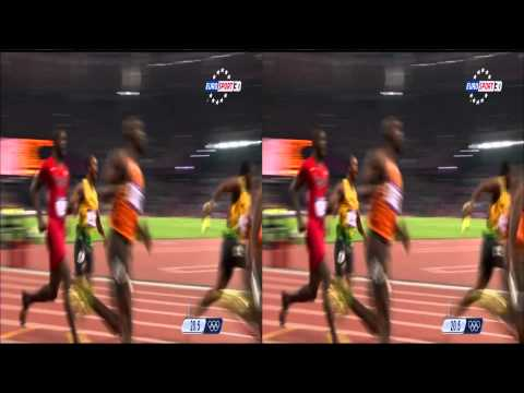 Jeux Olympiques Londres - 4x100m Finale Usain Bolt 3D stereo (Olympic Games London)