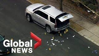 Aerial footage shows crime scene where notorious mob boss Francesco 'Franky Boy' Cali was killed