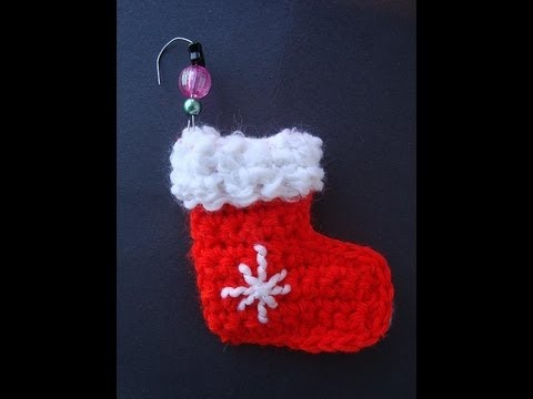 How To Crochet A Mini Stocking Ornament Youtube