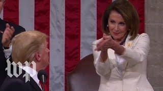 Nancy Pelosi claps for President Trump
