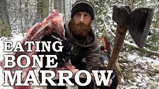 Eating BONE MARROW like CAVEMAN in the FOREST | 100-YEAR-OLD AXE!!! | Bow Drill Fire From Scratch