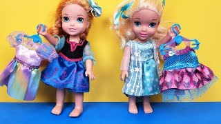 New Dress ! Elsa & Anna toddlers - fabric store shopping - Barbie is the seller