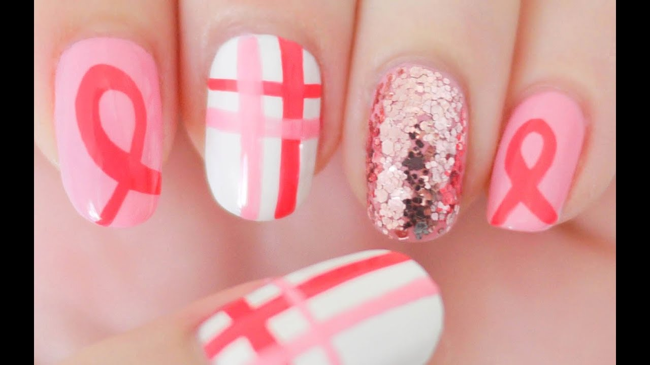Breast Cancer Awareness Nails For October Youtube