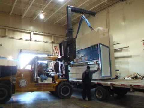 Trumpf TruBend 5230 (20+ TON) being unloaded at Schumacher Elevator Company